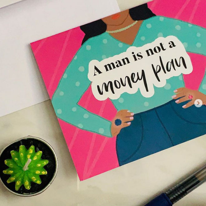 a man is not a money plan greeting card